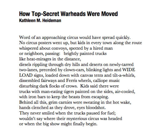 How Top-Secret Warheads Were Moved (a poem by Kathleen M. Heideman)